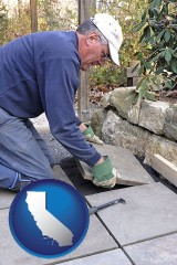 california map icon and a patio builder